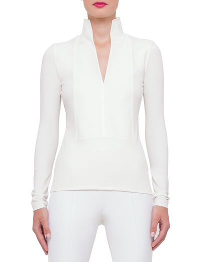 Long-Sleeve Stand-Collar Pullover, Anemone