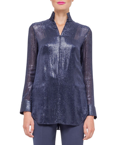 Long-Sleeve Striped Devore Tunic Blouse, Indigo