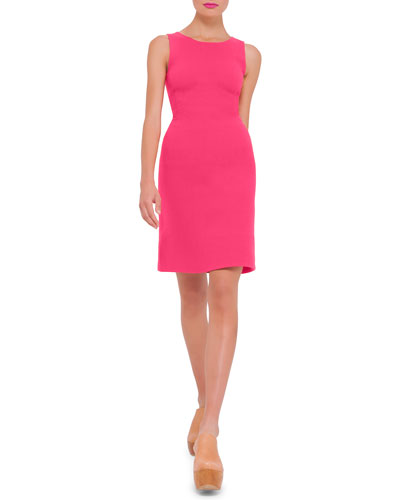 Sleeveless Round-Neck Wool Sheath Dress, Rose