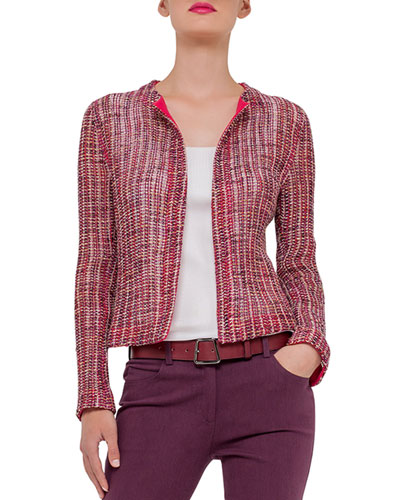 Open-Front Loose-Weave Jacket, Dahlia