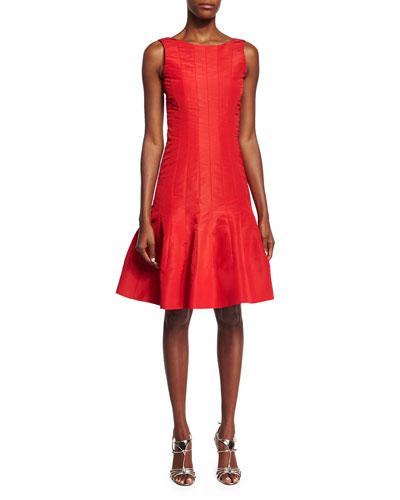 Sleeveless Flounce-Hem Dress, Cardinal