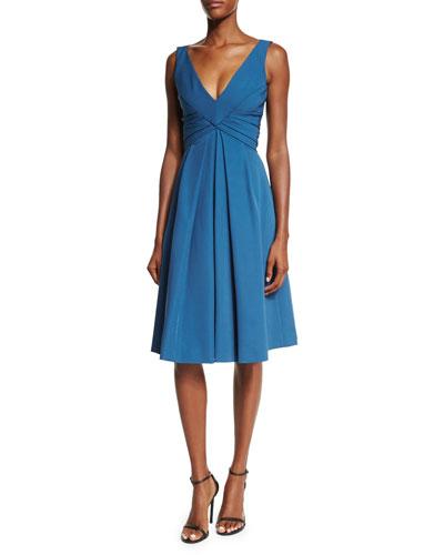 Sleeveless Pleated-Waist Cocktail Dress, Blue Steel