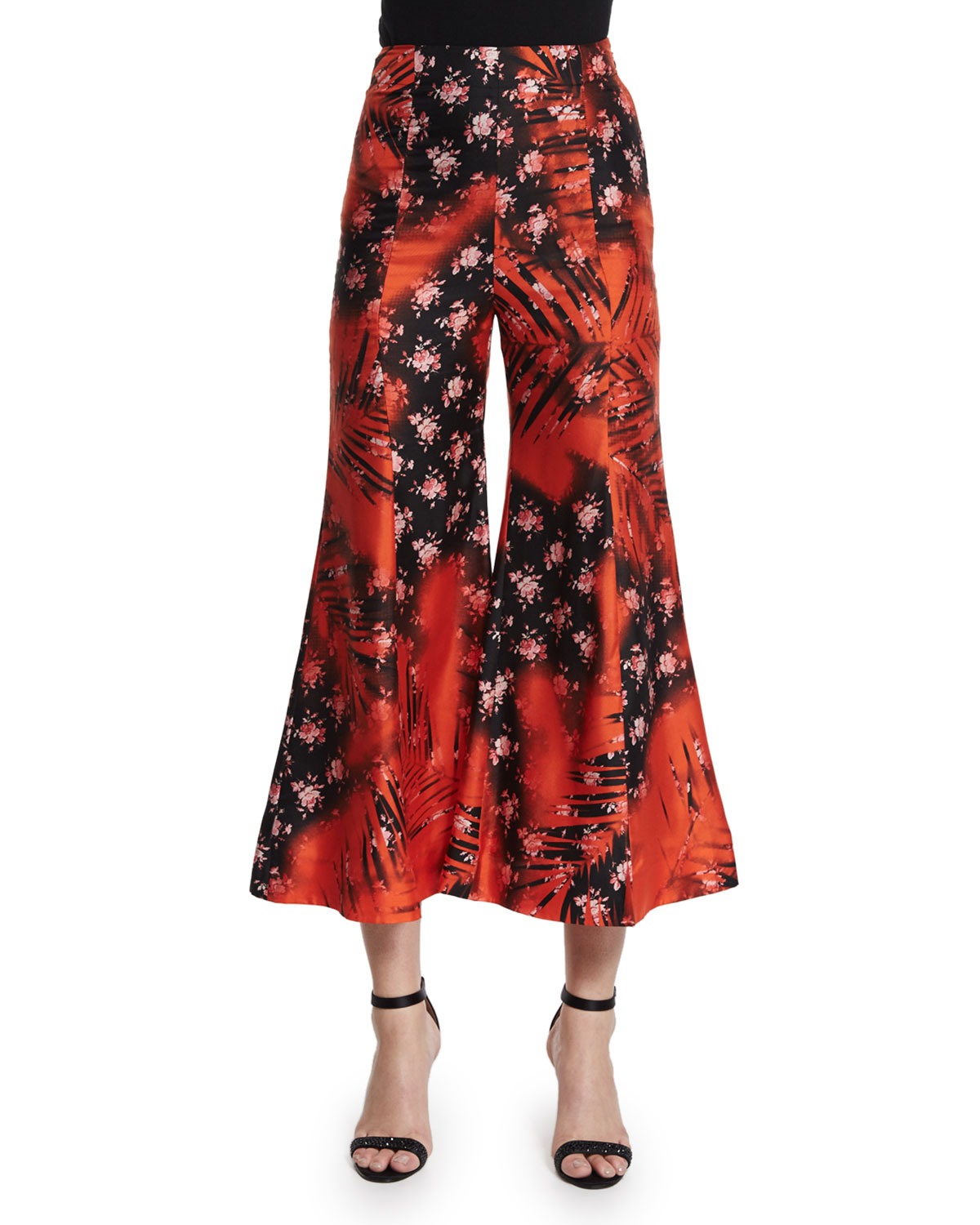 Flower-Print Flare-Leg Cropped Pants, Palm Tree Red