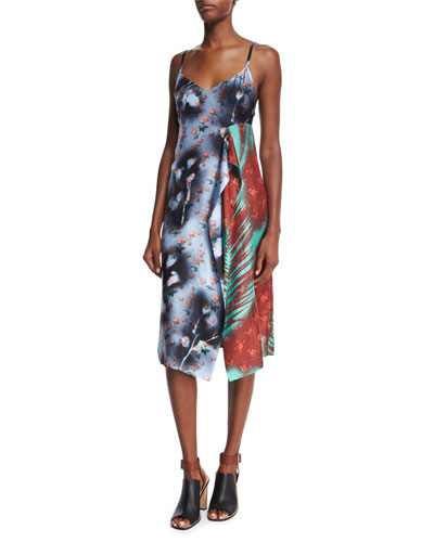 Sleeveless Patchwork Asymmetric Dress, Roses/Palm Mix