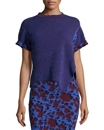 Short-Sleeve Intarsia Mixed-Print Sweater, Bordeaux Stripe