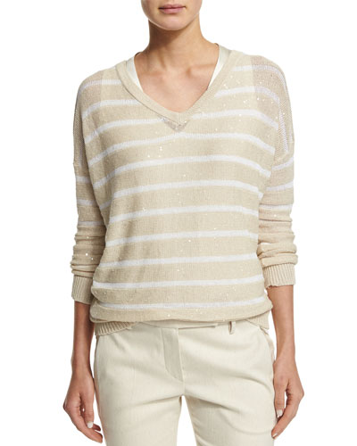 Striped Paillette-Embellished V-Neck Sweater, Butter/White