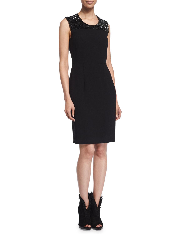 Embellished Cocktail Sheath Dress, Black