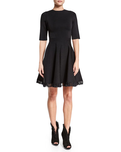 Half-Sleeve Fit-&-Flare Dress W/Fringe, Black