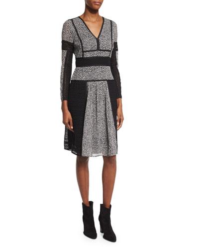 Long-Sleeve Lace-Panel Dress, Black/White
