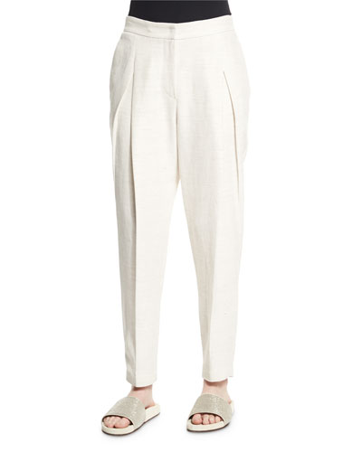 Pleated-Front Tapered-Leg Pants, Natural