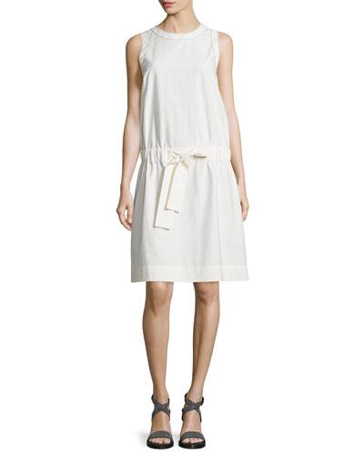Sleeveless Monili-Trim Shift Dress, White