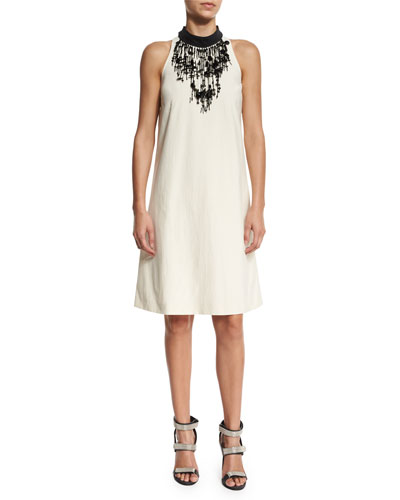 Cotton Techno Sleeveless Dress, Butter