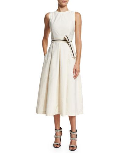 Sleeveless Midi Dress W/Monili-Trim Belt, Butter