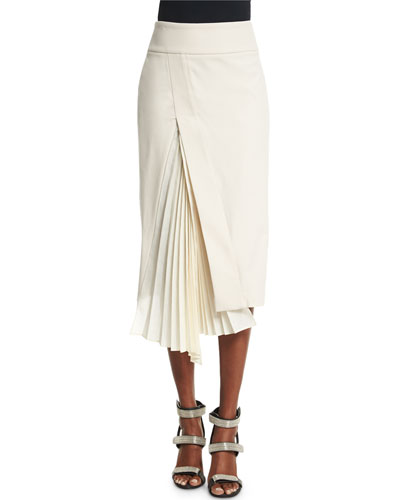 Accordion-Slit Pencil Skirt, Vanilla
