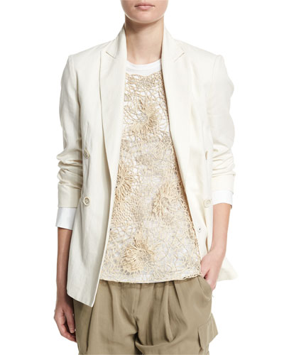 Long-Sleeve Double-Breasted Blazer, Butter