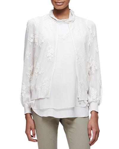 Long-Sleeve Zip-Front Lace Jacket, Vanilla