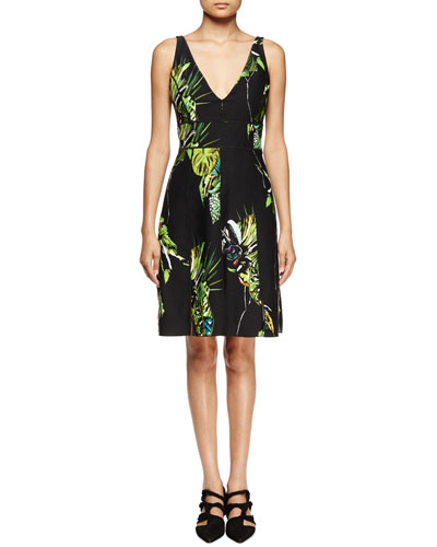 Sleeveless Floral-Print Sheath Dress, Black/Green/Chartreuse