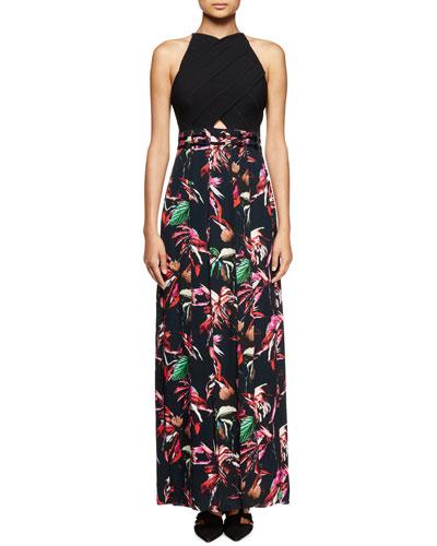 Tropical-Print Sleeveless Maxi Dress, Navy/Red/Pink