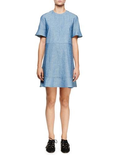 Short-Sleeve Chambray Dress, Blue