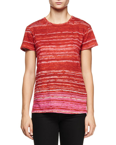 Short-Sleeve Multi-Striped T-Shirt, Red