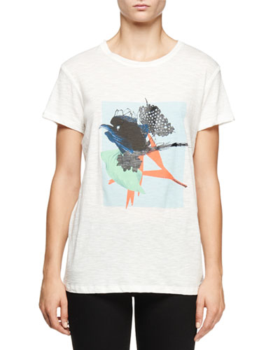 Short-Sleeve Ikebana-Print T-Shirt, Light Blue