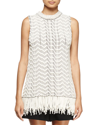 Sleeveless Fringe-Hem Top, Off White/Black
