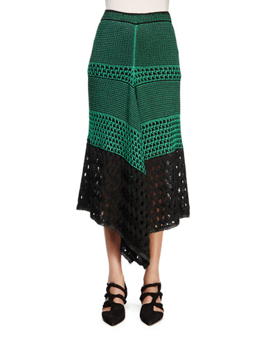 Handkerchief-Hem Midi Skirt, Deep Mint/Black