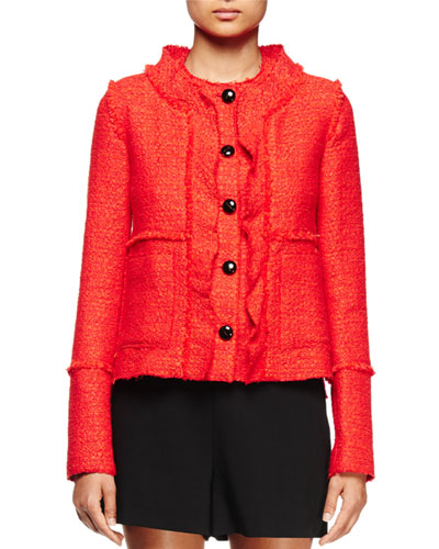 Long-Sleeve Ruffle-Front Jacket, Electric Red