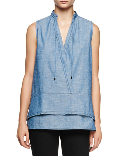 Sleeveless Double-Hem Chambray Tunic, Blue