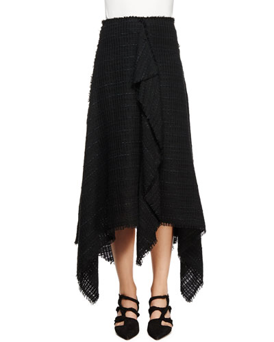 Asymmetric-Hem Tweed Skirt, Black