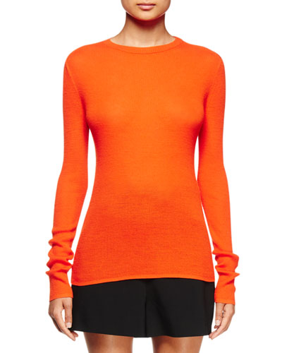 Long-Sleeve Open-Back Sweater, Electric Red
