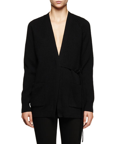 Long-Sleeve V-Neck Cardigan, Black
