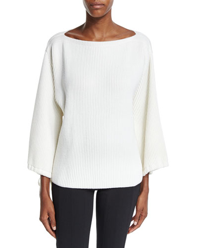 Bell-Sleeve Bateau-Neck Sweater, Ivory