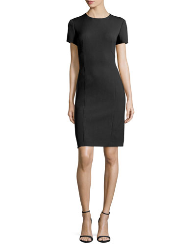Short-Sleeve Sheath Dress, Black