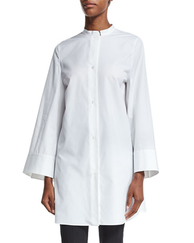 Button-Front Elongated Tunic Blouse, White