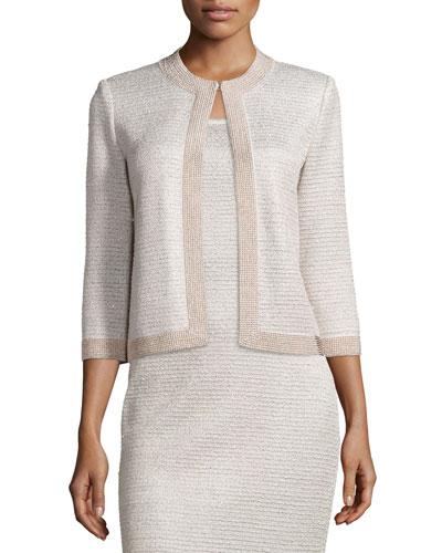 Allure Knit Jewel-Neck 3/4-Sleeve Jacket, Champagne