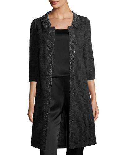 Allure Knit 3/4-Sleeve Topper Coat, Caviar