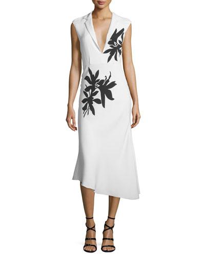Sleeveless Floral-Print Midi Dress, White/Black
