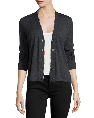 Twisted-Front Merino Cardigan, Gray