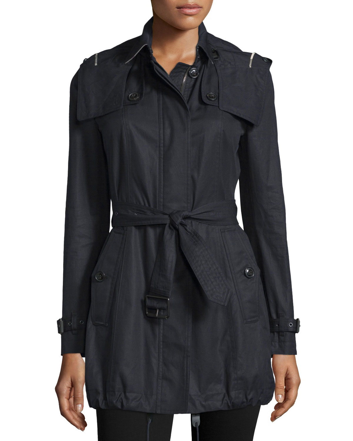 Fenstone Single-Breasted Raincoat, Black