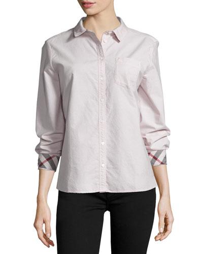 Long-Sleeve Oxford Shirt, Pink