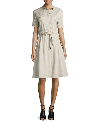 Tuesday Short-Sleeve Drawstring-Waist Dress