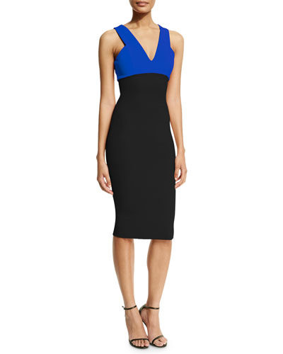 Sleeveless Two-Tone Sheath Dress, Black/Blue