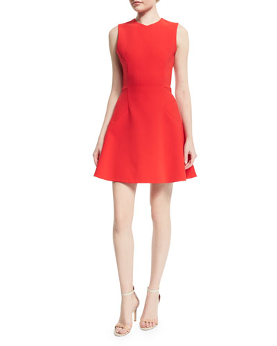 Sleeveless Hexagonal-Seam Mini Dress, Red