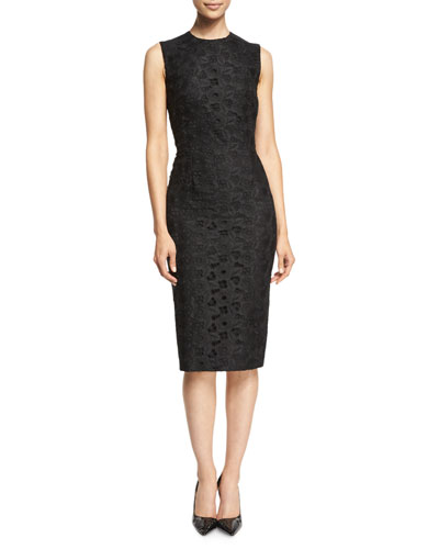 Sleeveless Lace-Front Sheath Dress, Black