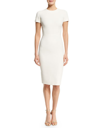 Short-Sleeve T-Shirt Sheath Dress, Cream