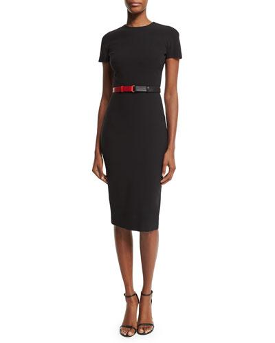 Short-Sleeve Belted T-Shirt Dress, Black