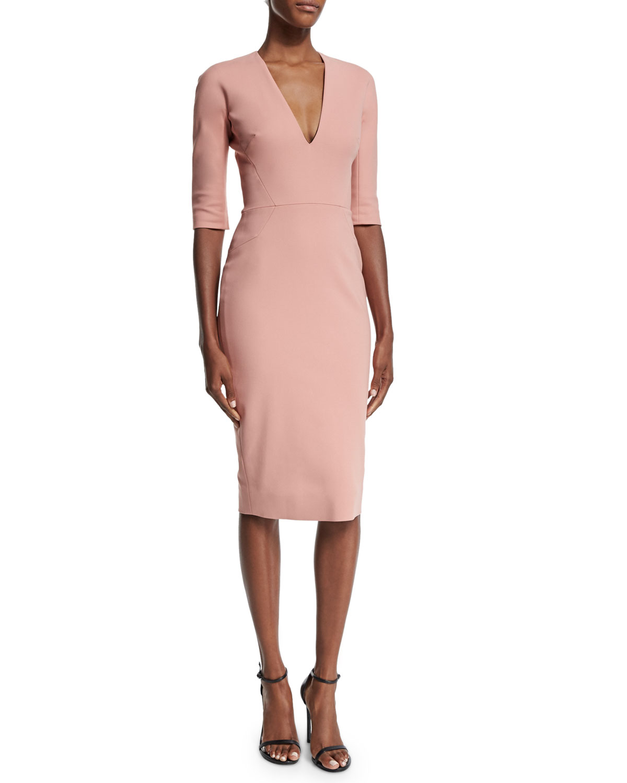 Half-Sleeve V-Neck Sheath Dress, Blush Pink