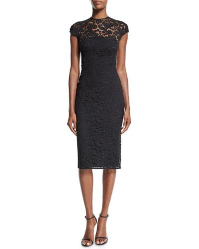 Jewel-Neck Cap-Sleeve Lace Dress, Black