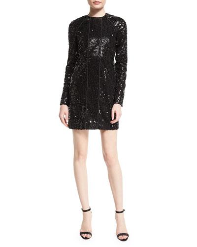 Embellished Paneled Shift Dress, Black
